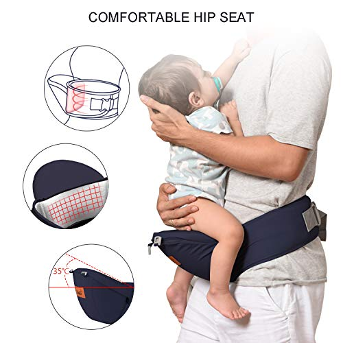 Bable Baby Carrier with Hip Seat, 360 Ergonomic Baby Carrier, Toddler Tush Stool for All Seasons, Soft Baby Sling No Infant Insert Needed - Adapt to Newborn, Infant Hiking Backpack Carrier by BABLE (Image #3)