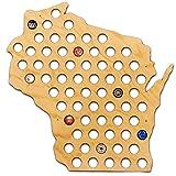 Wisconsin Beer Cap Map - Holds Craft Beer Bottle Caps (Natural)