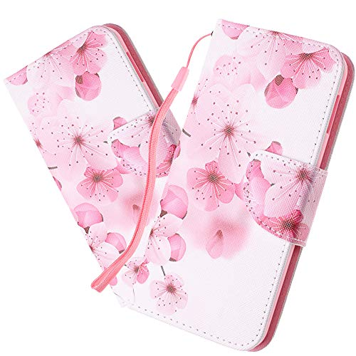 HMTECHUS Case for Samsung A20 Luxury Shell PU Premium Leather Flip Card Slot Wallet Kickstand Bookstyle Hand Strap Magnetic Cover Compatible with Samsung Galaxy A30 - Elegant Peach HX