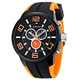 Anleowatch 1PCS Orange Watch 3ATM Water Resistant Men Women Unisex Sport Watch Rubber Strap