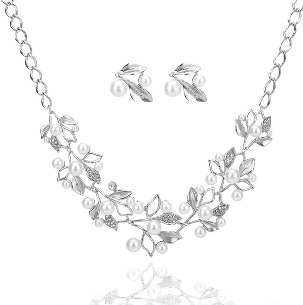 Doitsa Collares Cortos de Piedras Preciosas de Moda Hojas Perlas Diamantes Adecuado para Mujeres Adecuado para Bodas Fiestas de Cumpleaños Collares y Pendientes (Silver)