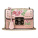 Hot Sale! Koolee Women Crossbody Bag, Stylish Faux Leather Embroidery Rose Rivet Crossbody Purse Satchel Messenger Bag Shoulder Handbag with Chain Strap (Pink)