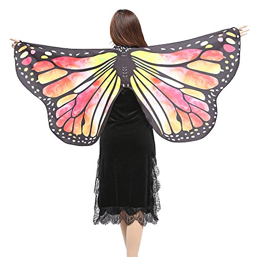 vermers Women Shawls and Wraps Fashion Butterfly Wings Shawl Scarves Ladies Nymph Pixie Poncho Costume Accessory(Yellow) -
