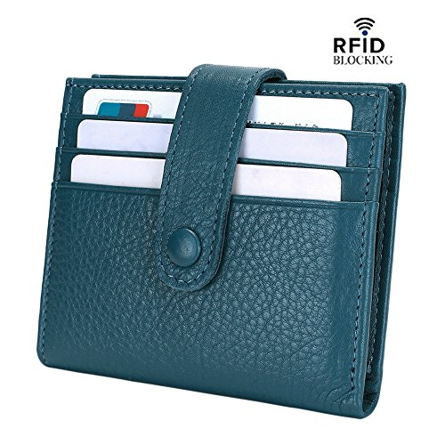 Reeple Women's RFID Blocking Small Compact Bifold Leather Pocket Wallet with ID Window(Blue) ()