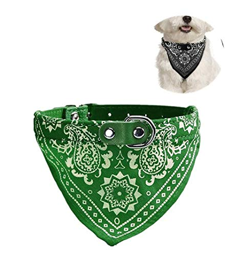 LAIHUI Dog Bandana,pet Charming Chic Neck Scarf Adjustable Leather Collar Printed Cotton Fabric Relaxation Pet Puppy Cat Bandana for Small Medium Large Pet Dog Cat Independence Day (Green) ()