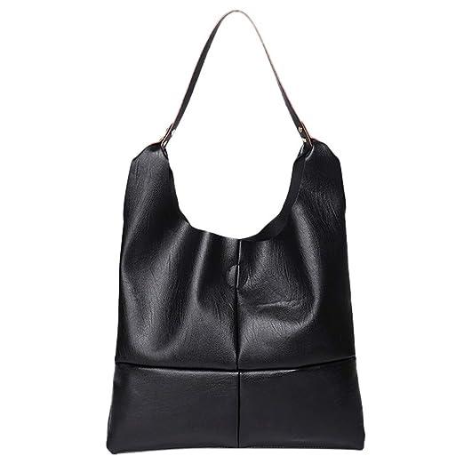 38c603264f7 Amazon.com: JJLIKER Women Leather Large Capacity Hasp Tote Waterproof Hobos Bag  Fashion Work Handbags Satchels Black: Clothing