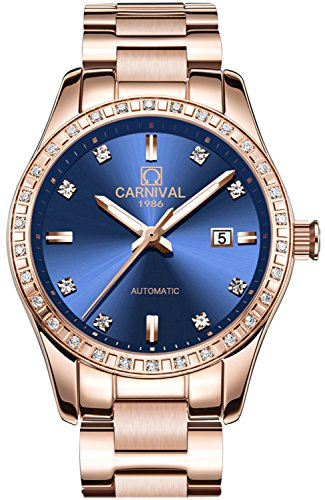 - PASOY Women Elegant Automatic Rose Gold Watch Blue Dial Sapphire Crystal Date Mechanical Analog Watches (blue)