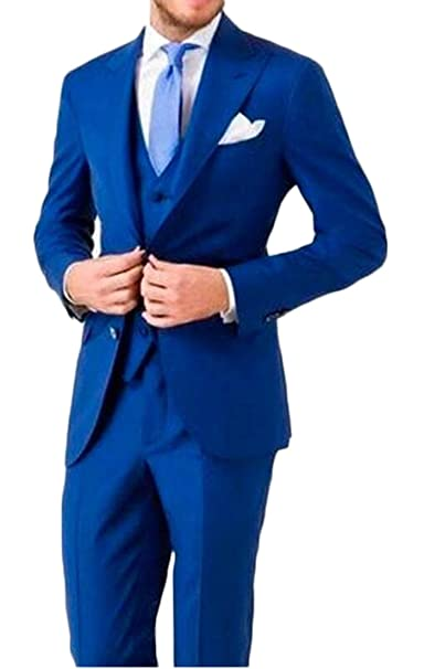 aokaixin hombre 2 botón 3pc Azul Slim Fit traje de noche ...