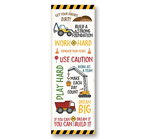 Adorable Construction Truck, Digger and Crane Typography Panel Print, Perfect for A Child's Room Or Nursery; One 12x36in Fine Art Paper Giclee Print