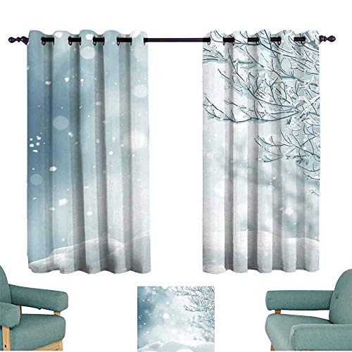 SONGDAYONE Winter Double Panel Curtain Christmas Themed Image Snow and Frosted Tree Snowflakes Winter Season Illustration Room Darkened (2 Panels,W84 xL72)