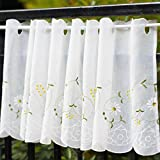 Kitchen Window Treatments French Country WeMay Panel Embroidery Pastoral Style Cafe Curtain Kitchen Curtain Floral Window Valance,18X60 inch,Daisy