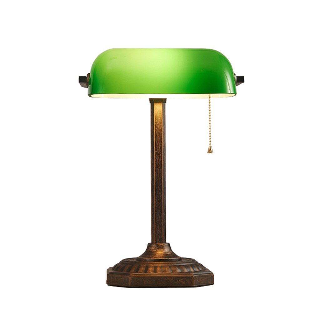 ZIB-Lampen-Tischlampe für Schlafzimmer Wohnzimmer Traditionelle antike Messing und grüne Banker Schreibtisch Lesetischlampe (ohne Birne) Leselampe für Zuhause, Büro, Studium, Arbeit