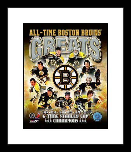 Boston Bruins All Time Greats NHL Framed 8x10 Photograph Stanley Cup Champs Collage
