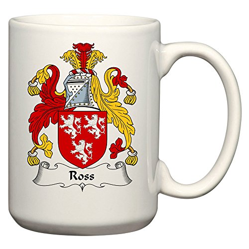 Ross Coat of Arms/Ross Family Crest 15 Oz Ceramic Coffee/Cocoa Mug by Carpe Diem Designs, Made in the U.S.A.