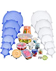 Silicone Stretch Lids, 12 Pack Miracle Lids, Magic Insta Lids, Reusable Silicone Lids With Hanging Holes Fit Round & Square Bowls, Various Sizes Silicone Bowl Covers Keeping Food Fresh Freezer Safe