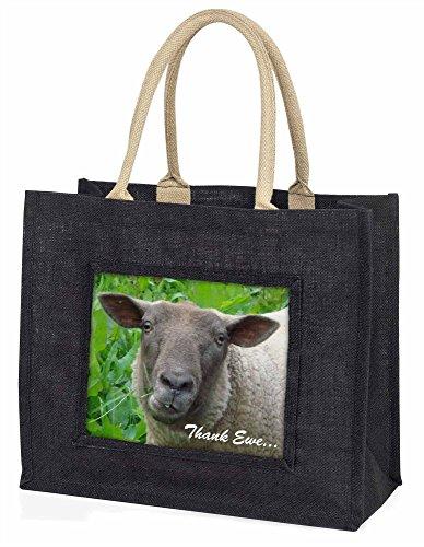 Advanta–Große Einkaufstasche Schaf Thank Ewe (Sie) Sentiment Große Einkaufstasche Weihnachtsgeschenk Idee, Jute, schwarz, 42x 34,5x 2cm
