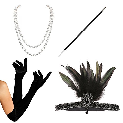 1920s Accessories Set Flapper Costume - HAMIST For Women Headband Gloves Cigarette Holder Necklace (Cute Flapper Costumes)