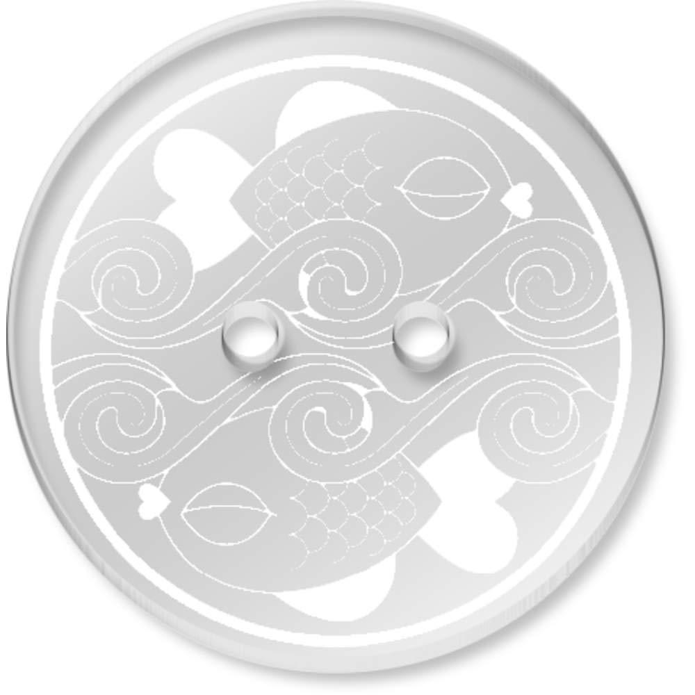 BT00083934 Azeeda 8 x 23mm Due Motivi di Pesce Bottoni Rotondi Acrilico Trasparente