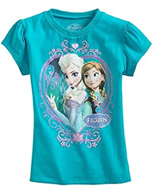Frozen Princess Anna Elsa Girls T-shirt - Turquoise Blue (5T)