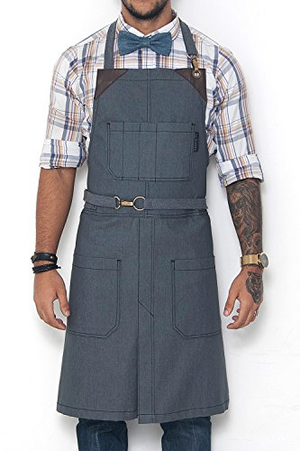 Under NY Sky No-Tie Armor Gray Apron – Durable Twill with Leather Reinforcement, Split-Leg – Adjustable for Men and Women – Pro Barber, Tattoo, Barista, Bartender, Baker, Hair Stylist, Server Apron