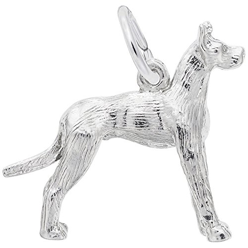 (Great Dane Dog Charm In Sterling Silver, Charms for Bracelets and Necklaces)