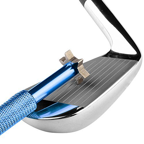 Golf Club Groove 6 Heads Sharpener Tool Cleaner for wedges and irons of U & V shaped grooves (BLUE)
