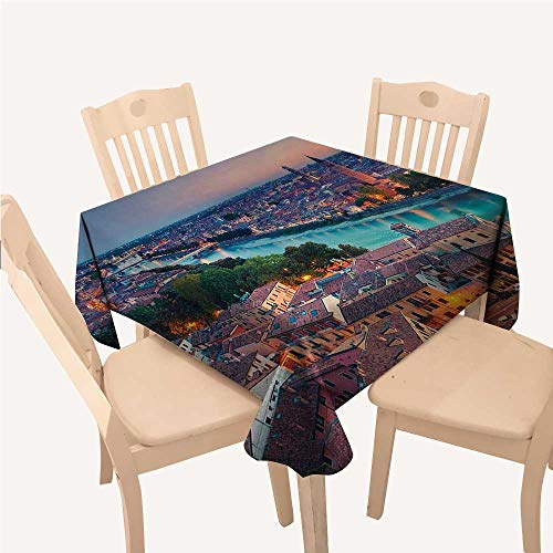 (WilliamsDecor European Square Tablecloth Verona Italy During Summer Sunset Blue Hour Adige River Medieval HistorcalAqua Coral Green Square tablecloths W50 xL50 inch)