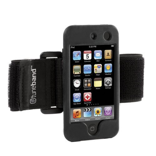Tuneband for iPod touch 4th Generation (Model A1367, 8GB/16GB/32GB/64GB), Grantwood Technology's Armband, Silicone Skin, and Screen Protector, BLACK -