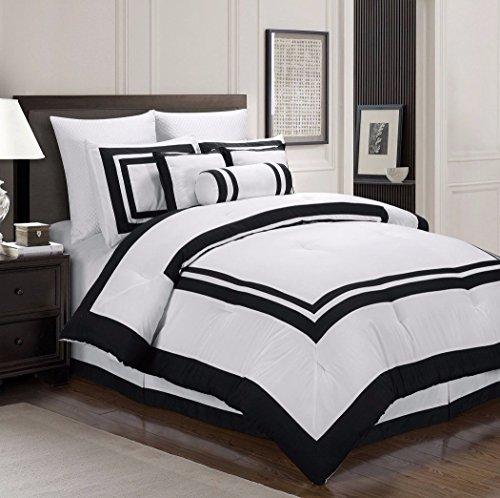 Collection Caprice 7Pcs White Black Hotel Block Comforter Set, Cal King
