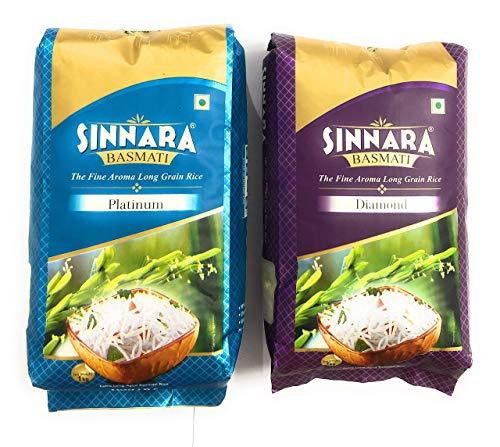 "SINNARA Platinum and Diamond Basmati Rice Combo, 1kg Each, ''1121"" Long Grain Rice 2021 August National brand finest quality basmati Suitable for all food"