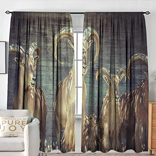 Blackou Curtains Antlers,Capricorn Group of Spanish Ibex Under Shade Sunbeams Animal Nature Picture,Beige Charcoal,Wide Blackout Curtains, Keep Warm Draperies,Set of 2 Panels -