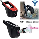 Dual Lens Dash Cam, Hidden Wifi Car DVR Vehicle 1080P FHD 170 Degree Wide Angle High Temperature Resistant Car Camera Recorder with Night Vision, G-sensor,WDR,Loop Recording
