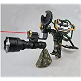 Yancorp High Velocity Hunting Slingshot with Arrow Knock, Magnetic Wrist Support, 4 Sets Rubber Bands, Aiming Light, Flash Light