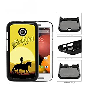 Cowgirl Horse Riding In The Sunset Hard Plastic Snap On Cell Phone Case Motorola Moto E