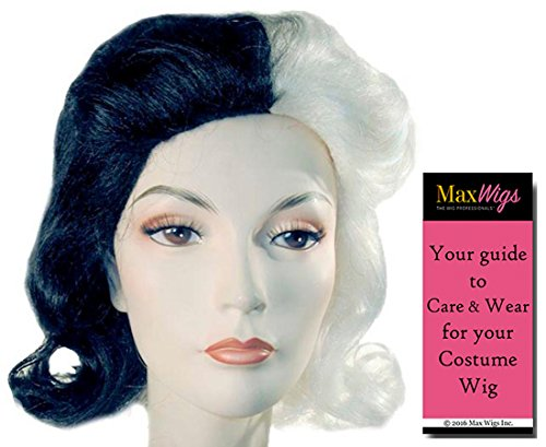 Cruella De Vil Glamour Color Black and White - Lacey Wigs Adult Black White Close 101 Dalmations Villain Bundle With MaxWigs Costume Wig Care ()