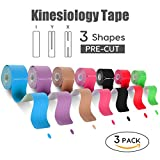 """FriCARE Pre-cut Kinesiology Tape, 3 Rolls, X Y I Shape, 2""""x 10 inch/Strip, Therapeutic Sports Athletic Tape for Knee Shoulder Muscle Support, Adhesive, Waterproof, FDA Approved, Free E-Guide Download"""