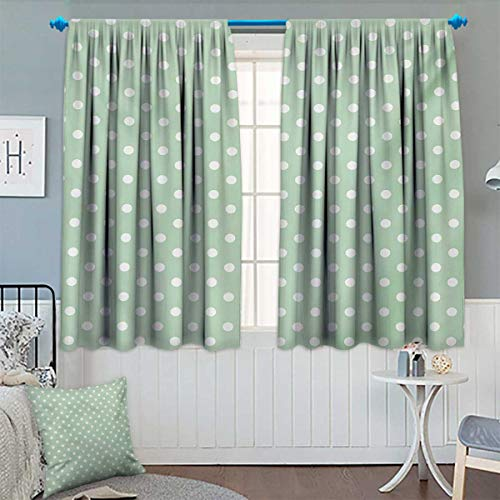 Mint Patterned Drape for Glass Door Classical Old Fashioned Polka Dots Pattern on Pale Green Fresh Background Waterproof Window Curtain 72