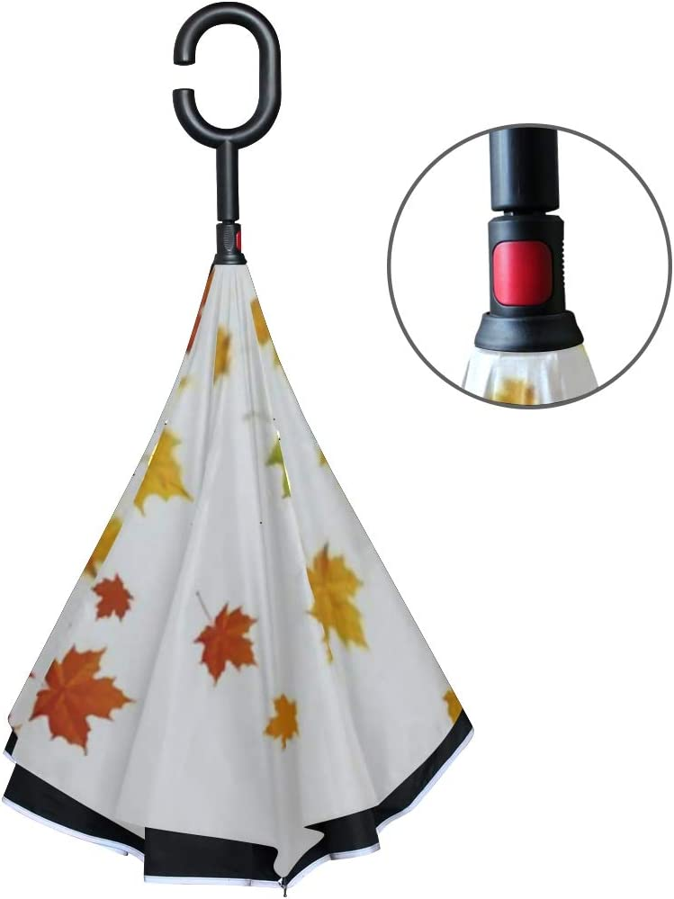 Double Layer Inverted Inverted Umbrella Is Light And Sturdy Autumn Leafs Reverse Umbrella And Windproof Umbrella Edge Night Reflection