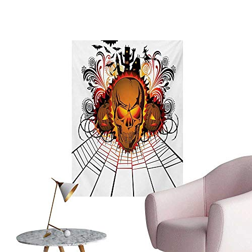Halloween Wall Sticker Decals Angry Skull Face on Bonfire Spirits of Other World Concept Bats Spider Web DesignMulticolor W32 xL48 Funny Poster ()