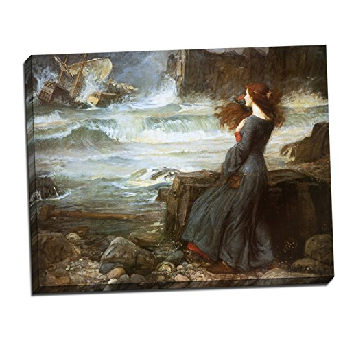 Gallery Wrapped Canvas 22x28' - John William Waterhouse Miranda the Tempest Gallery Wrapped Canvas Giclee Print - Finished Size (W) 28'' x (H) 22'' [Gallery-Wrap] (V04-15T-Stretched-Border)