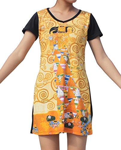 Raan Pah Muang RaanPahMuang Gustav Klimt Expectation Black Sleeve Dress, Medium