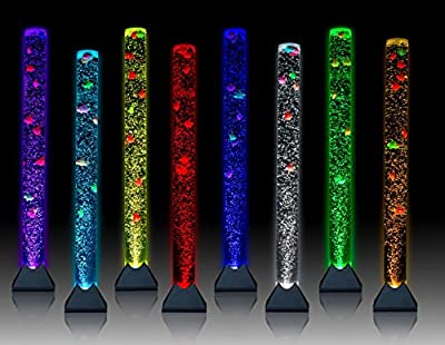 Sensory LED 4 Foot Bubble Tube - Floor Lamp Fish Tank Aquarium With Bubble Flow Control + Remote - By Playlearn