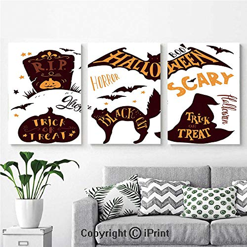 Wall Art Decor 3 Pcs High Definition Printing Halloween Symbols Trick or Treat Bat Tombstone Ghost Candy Scary Decorative Painting Home Decoration Living Room Bedroom Background,16
