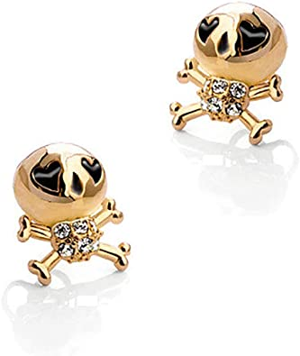Cute Skull Drip Oil Stud Earrings, Love Zircon Jewelry for Women Girls Christmas Gifts