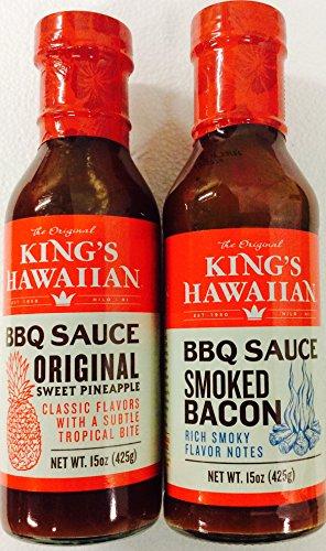 - King's Hawaiian BBQ Sauce 15oz (2 pack) 1 Original Sweet Pineapple, 1 Smoked Bacon