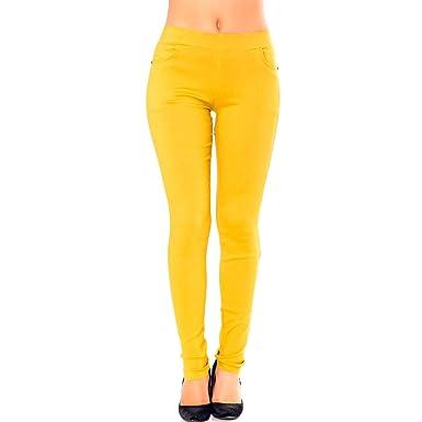 Miss Wear Line - Pantalon Slim Fashion Moutarde avec Poches Avant et arrière 48ebad5491c4