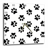 3dRose Paw Print Pattern - Black Pawprints on White - Cute Cartoon Animal Eg Dog or Cat Footprints - Wall Clock, 10 by 10-Inch (dpp_161521_1)