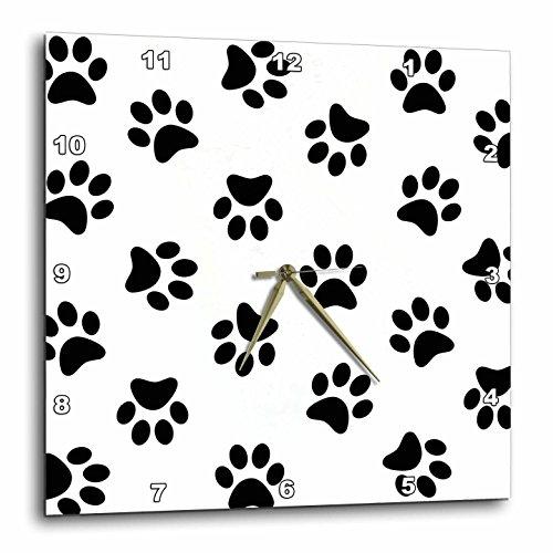 3dRose Paw Print Pattern - Black Pawprints on White - Cute Cartoon Animal Eg Dog or Cat Footprints - Wall Clock, 10 by 10-Inch (dpp_161521_1) by 3dRose