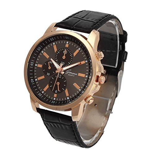 Auwer Watches,2018 New Waterproof Unisex Casual Geneva Faux Leather Quartz Analog Wrist Watch Fashion (Black)
