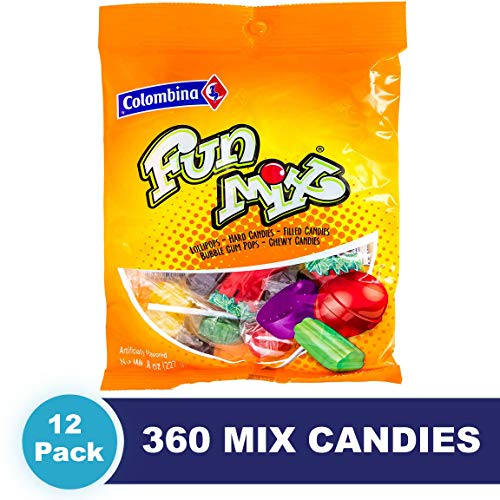 Colombina FunMix Candy, 8 oz (Pack of 12) ncludes: Lollipops, Hard Candies, Filled Candies, Bubblegum Pops, & Chewy Candies, Total 6 - Bubble Lollipop Filled Gum